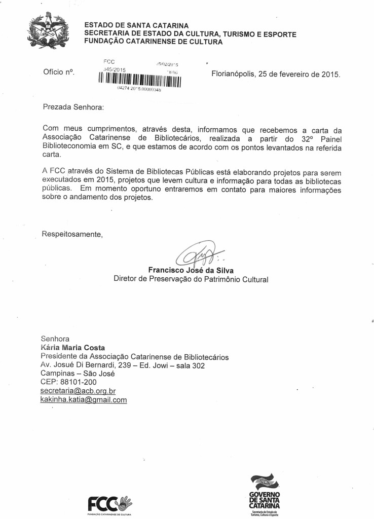 Ofício da Fundação Catarinense de Cultura